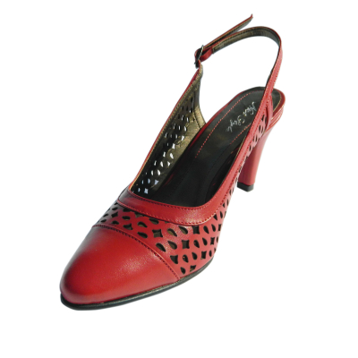 Pantofi dama din piele naturala, Alisse, Nist, Rosu, 34.5 EU0
