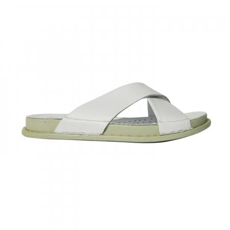 Papuci dama din piele naturala, Slipper, Anna Viotti, Alb, 39 EU0