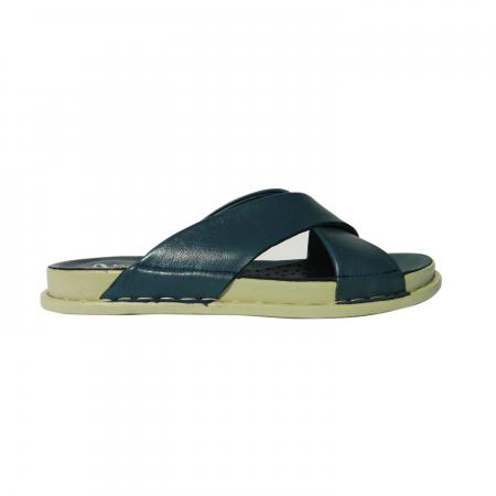 Papuci dama din piele naturala, Slipper, Anna Viotti, Albastru, 38 EU0