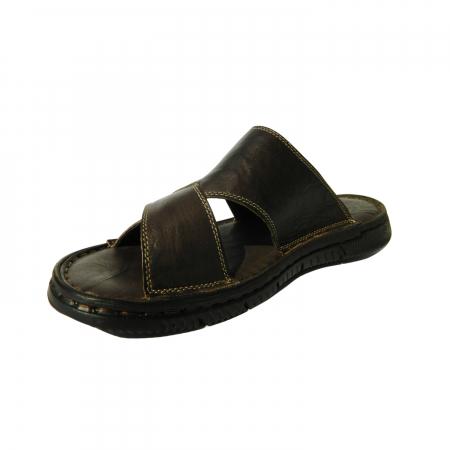 Papuci pentru barbati din piele naturala, Cuba, Gitanos, Maro inchis, 40 EU2
