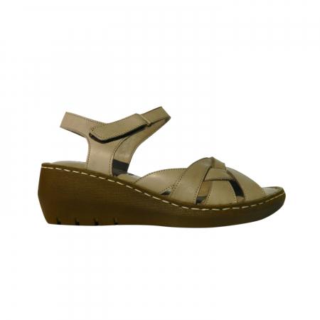 Sandale dama din piele naturala, Amza, Gitanos, Bej, 39 EU [0]