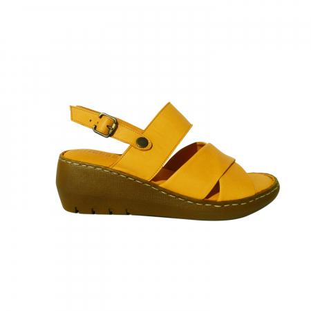 Sandale dama din piele naturala, Cloud, Gitanos, Galben, 39 EU [0]