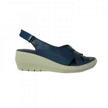 Sandale dama din piele naturala, Mary, Gitanos, Albastru, 36 EU0