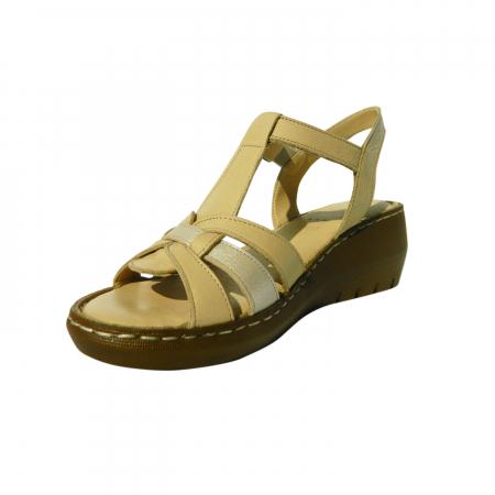 Sandale dama din piele naturala, Pam, Gitanos, Bej, 37 EU [2]