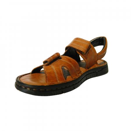 Sandale pentru barbati din piele naturala, Falcon, Gitanos, Maro, 43 EU2