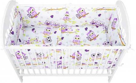 Set lenjerie pentru bebelusi cu aparatori laterale, Bufnita mov, bumbac 100% [1]