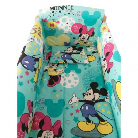Set lenjerie pentru bebelusi cu aparatori laterale, Minnie & Mickey Mouse, bumbac 100% [0]