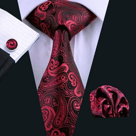 Set cravata + batista + butoni matase naturala model floral negru cu rosu 314 [1]