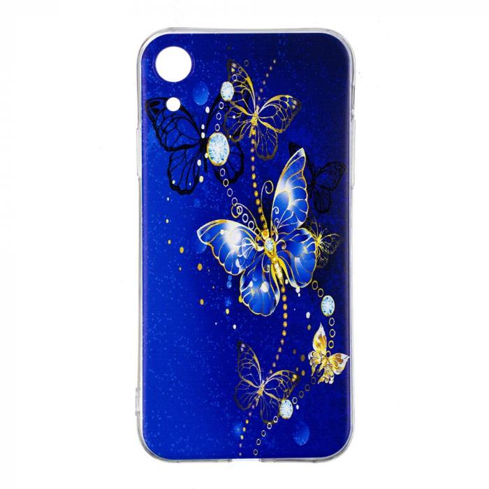 Husa silicon design fluture albastru Iphone XR 0