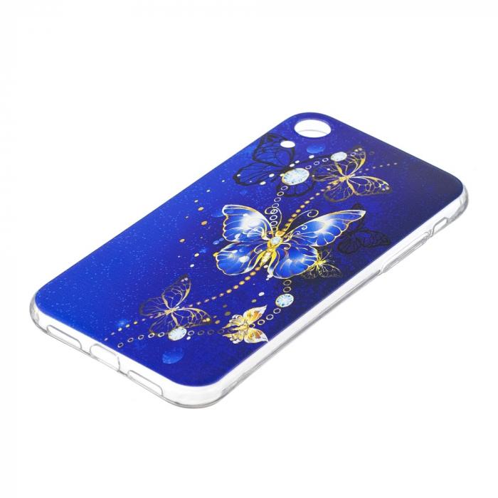 Husa silicon design fluture albastru Iphone XR 1