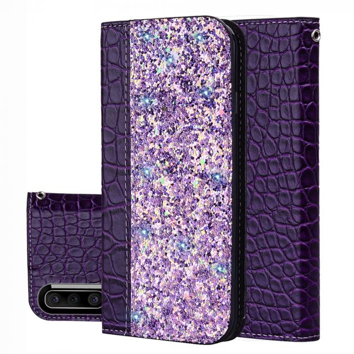 Husa carte paiete croco Samsung A50, Violet 0