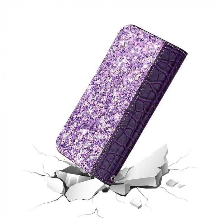 Husa carte paiete croco Samsung A50, Violet 2