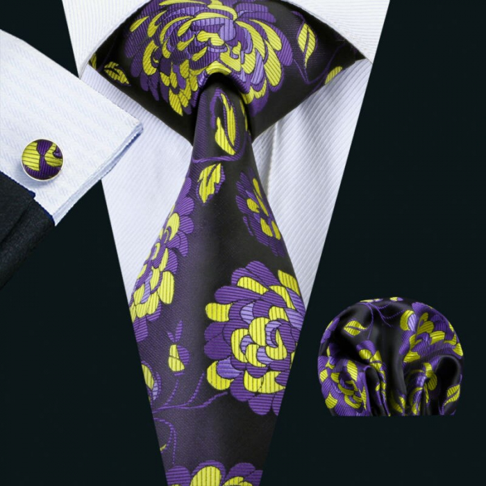 Set cravata + batista + butoni matase naturala model mov 1500 [1]