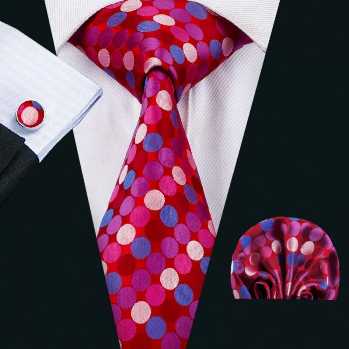 Set cravata + batista + butoni matase naturala model roz 1502 [1]
