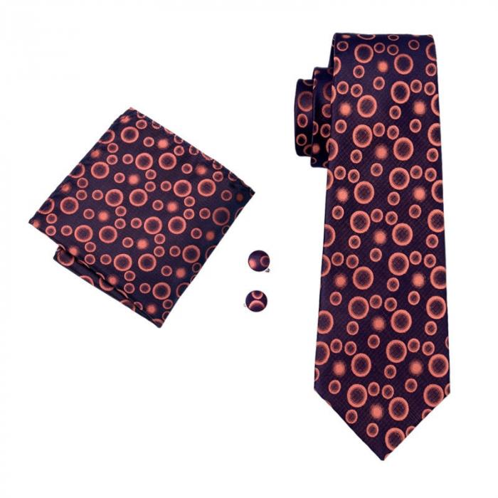 Set cravata + batista + butoni matase naturala model negru-portocaliu 1520 [0]