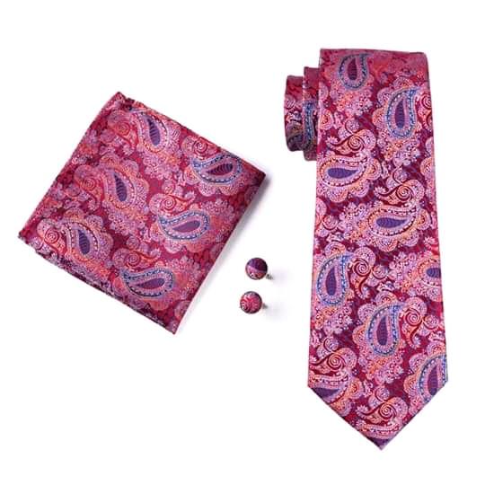 Set cravata + batista + butoni matase naturala model rosu cu albastru 552 [0]