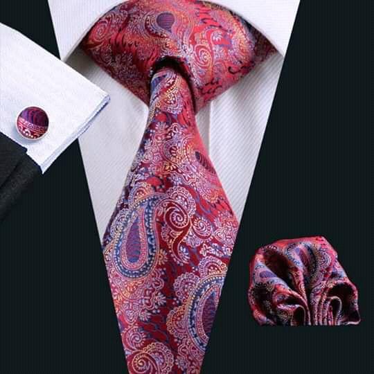 Set cravata + batista + butoni matase naturala model rosu cu albastru 552 [1]