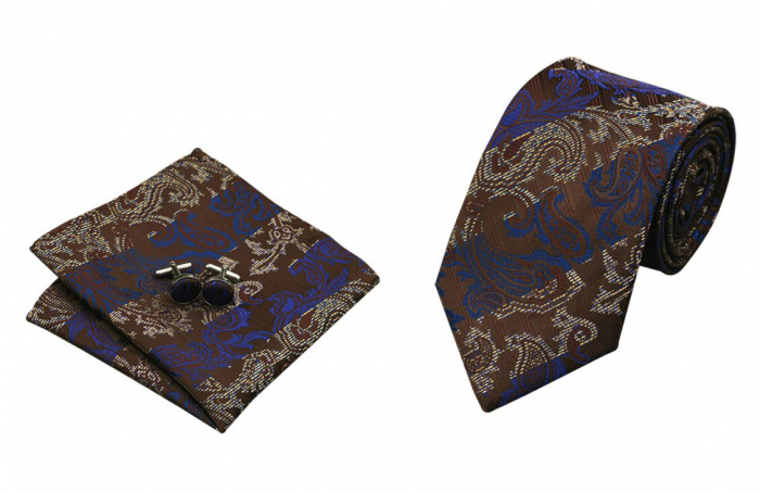 Set cravata + batista + butoni matase naturala model maro 374 [0]