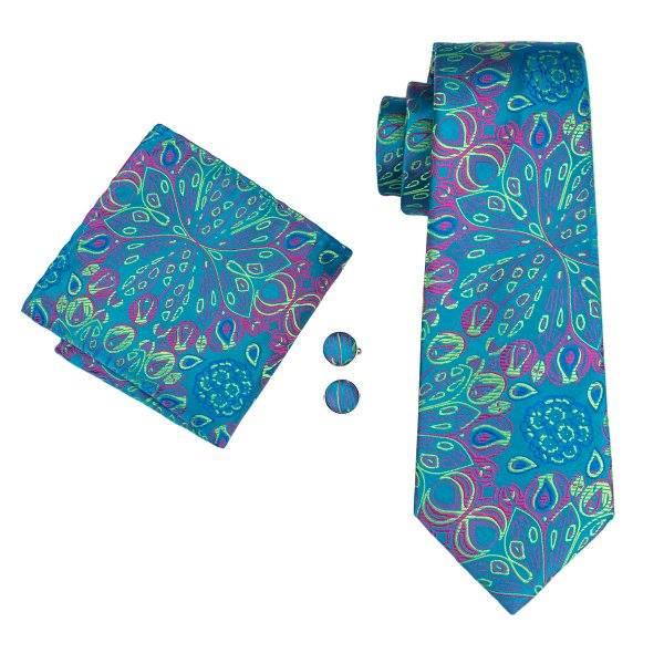 Set cravata + batista + butoni matase naturala model verde 1592 [0]