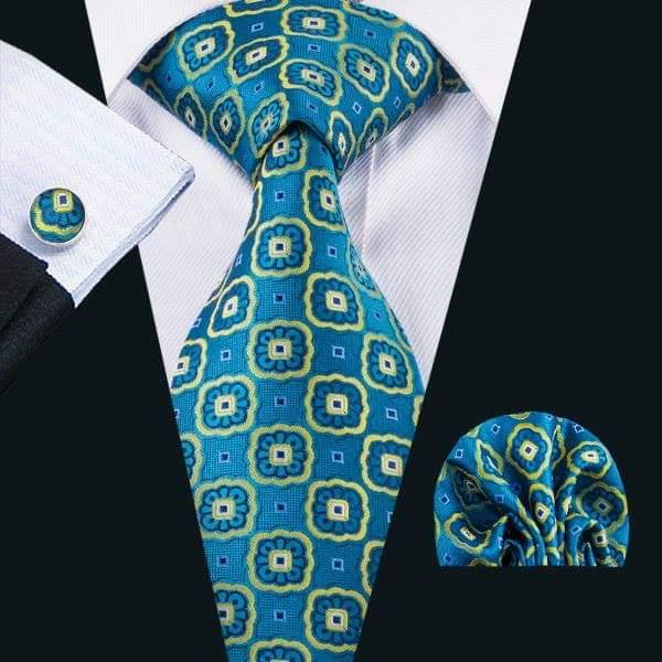 Set cravata + batista + butoni matase naturala model albastru cu galben 1612 [1]