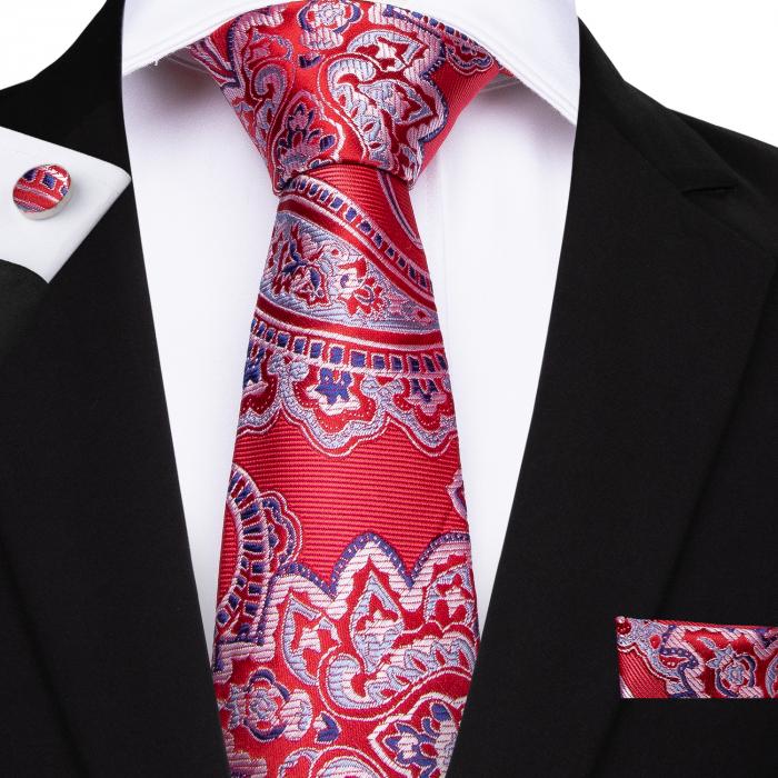 Set cravata + batista + butoni matase naturala model rosu 7107 [0]
