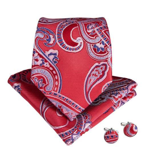 Set cravata + batista + butoni matase naturala model rosu 7107 [1]