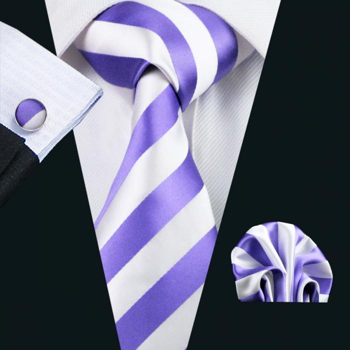 Set cravata + batista + butoni matase naturala model alb-mov 339 [0]