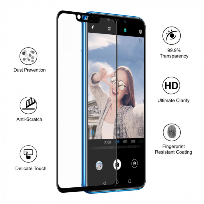 Folie sticla 5D Huawei Psmart (2018) - negru 2