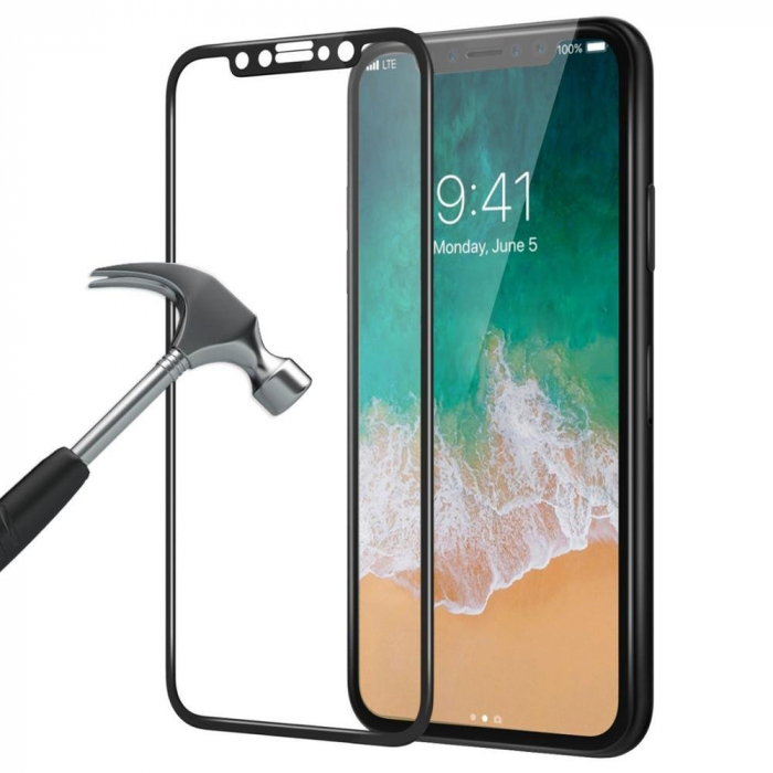 Folie sticla 5D Iphone X/Xs, Negru 0