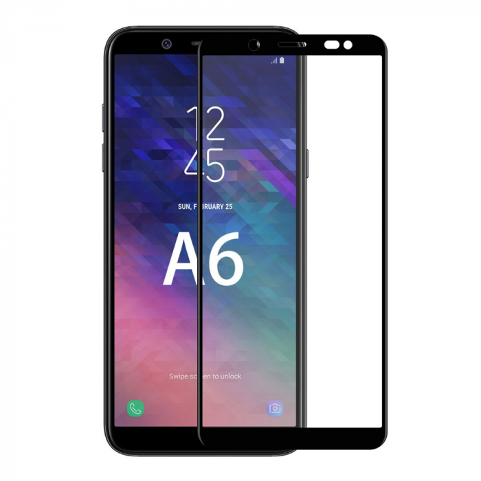 Folie sticla 5D Samsung A6 (2018) - negru 0