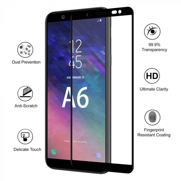 Folie sticla 5D Samsung A6 (2018) - negru 1