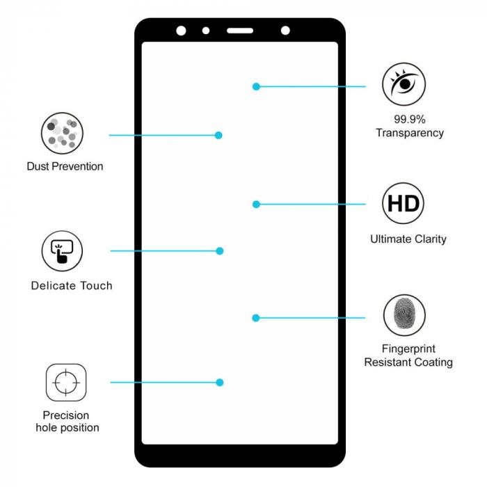 Folie sticla 5D Samsung A7 (2018) - negru 2