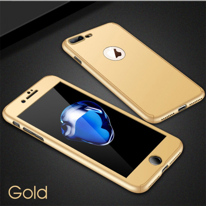 Husa 360 cu sticla inclusa Iphone 7 plus, Gold 0