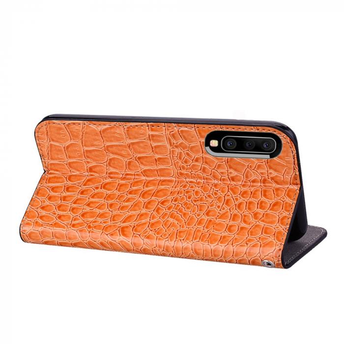 Husa carte paiete croco Samsung A50, Orange 2