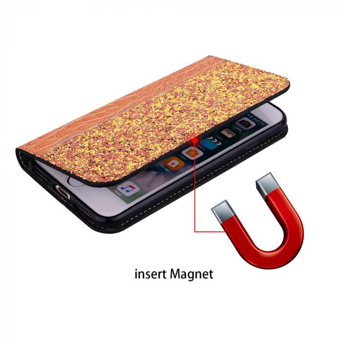 Husa carte paiete croco Samsung A50, Orange 1