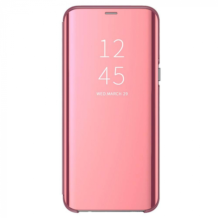 Husa clear view Samsung J7 2017, Rose 0