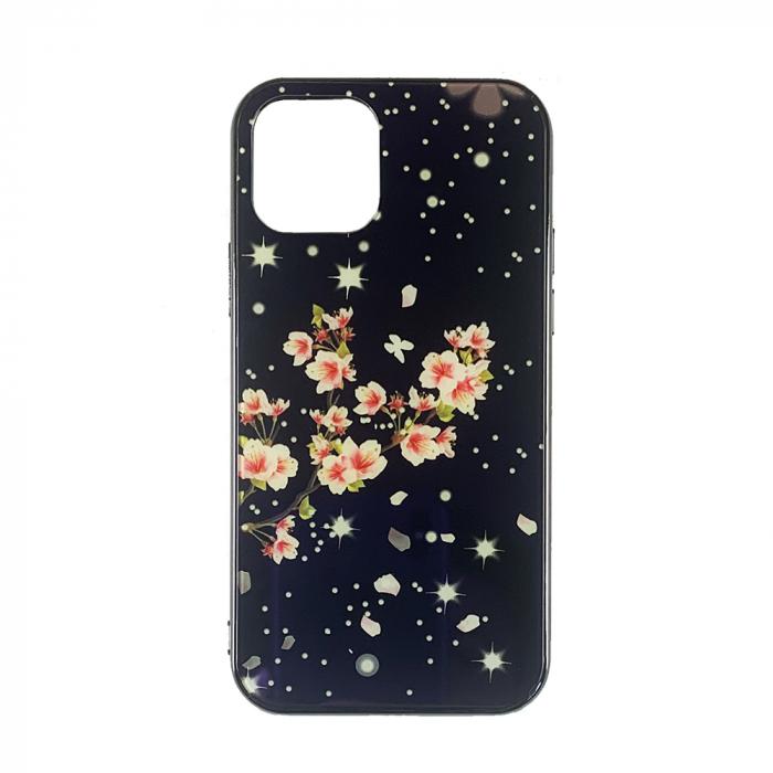 Husa Iphone 11 pro max silicon cu sticla floare roz 0