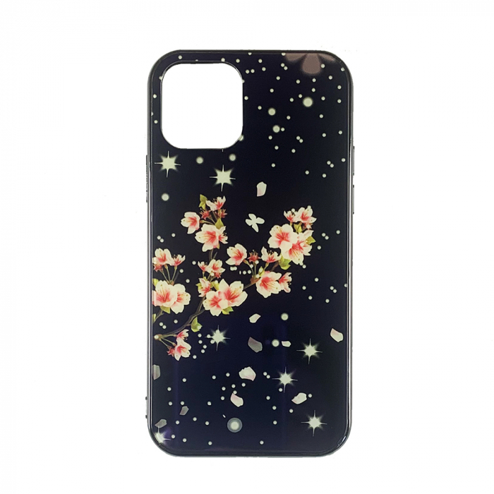 Husa Iphone 11 pro silicon cu sticla floare roz 0