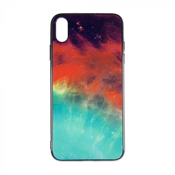Husa Iphone Xr silicon cu sticla galaxie 0