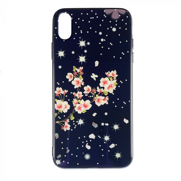 Husa Iphone XS Max silicon cu sticla floare roz 0