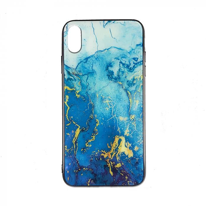 Husa Iphone XS Max silicon cu sticla marmura [0]