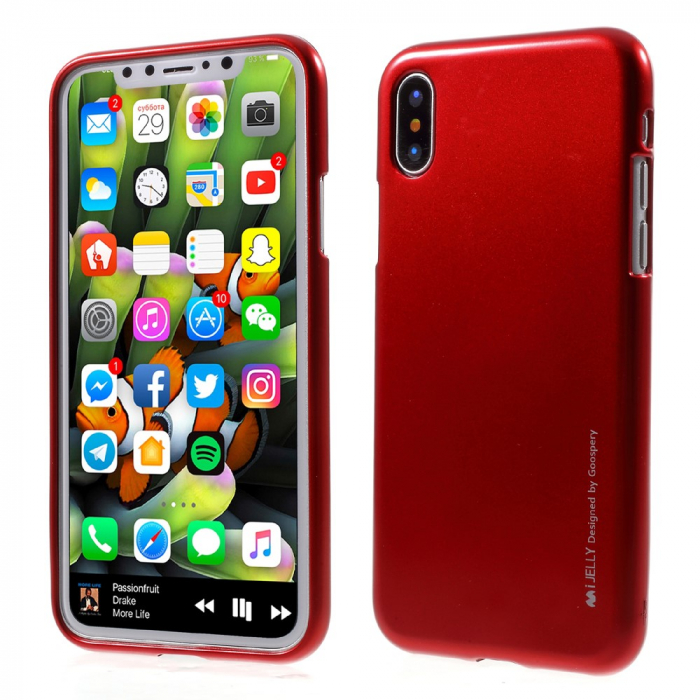 Husa silicon metal I-Jelly Iphone Xs Max - Rosu 0