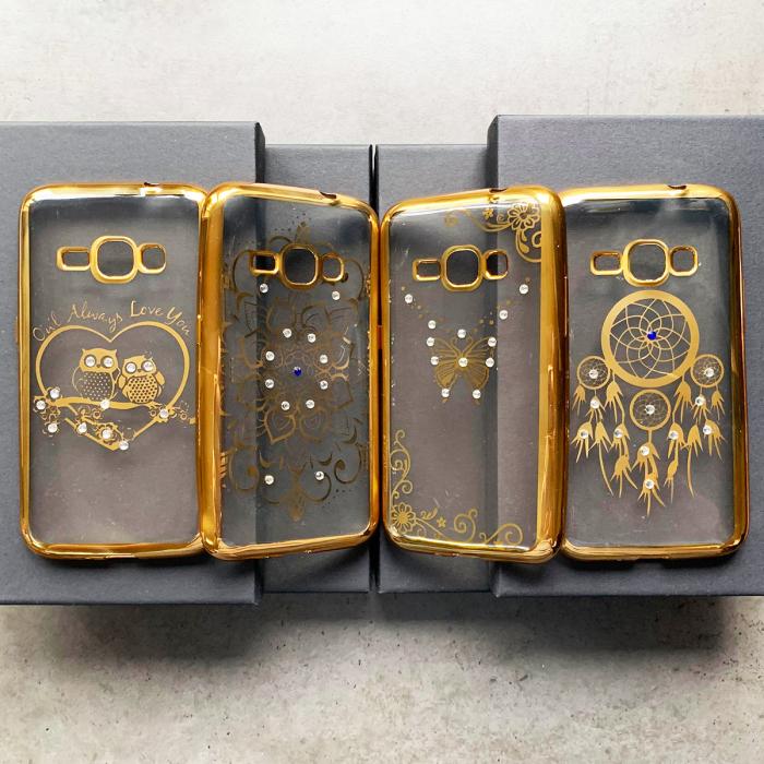 Husa placat pietricele Samsung J1 2016 gold 0