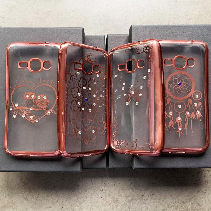 Husa placat pietricele Samsung J1 2016 rose 0
