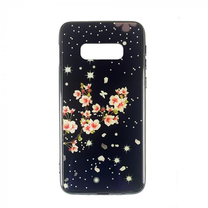 Husa Samsung S10e silicon cu sticla floare roz [0]