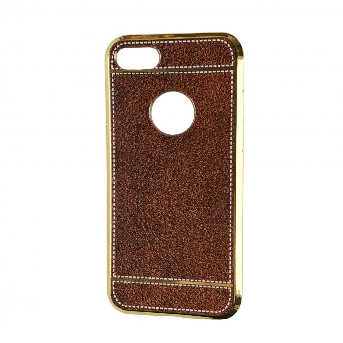 Husa silcon piele cusatura Iphone 7, Maro 0