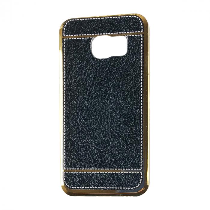 Husa silcon piele cusatura Samsung S6 edge, Negru 0