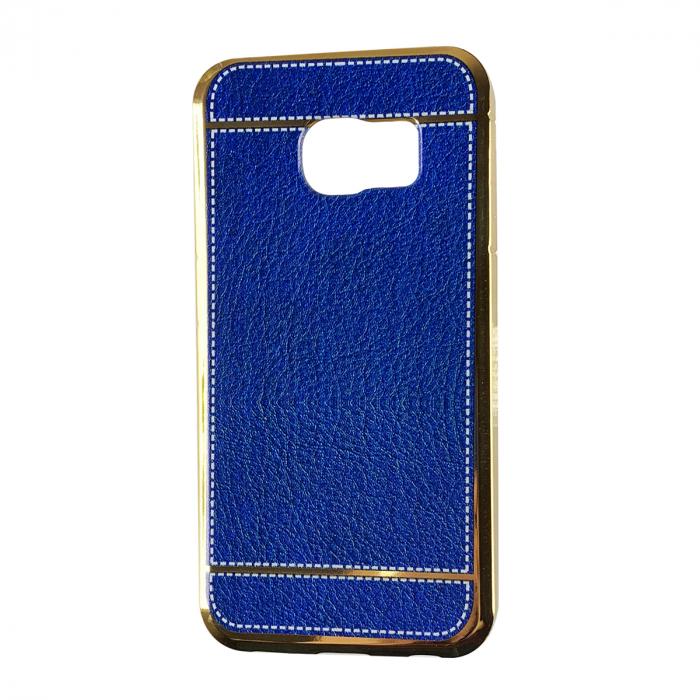 Husa silcon piele cusatura Samsung S6 edge, Albastru 0
