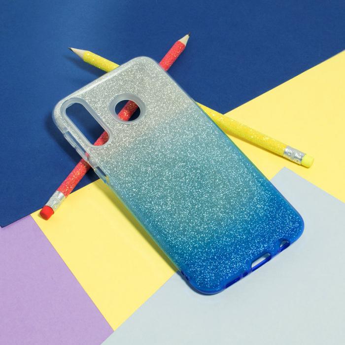 Husa silicon 3 in 1 cu sclipici degrade Huawei P20 - Albastru [0]