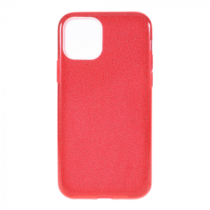Husa silicon 3 in 1 cu sclipici Iphone 11 Pro - Rosu 0